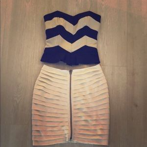Navy and Cream Strapless Top